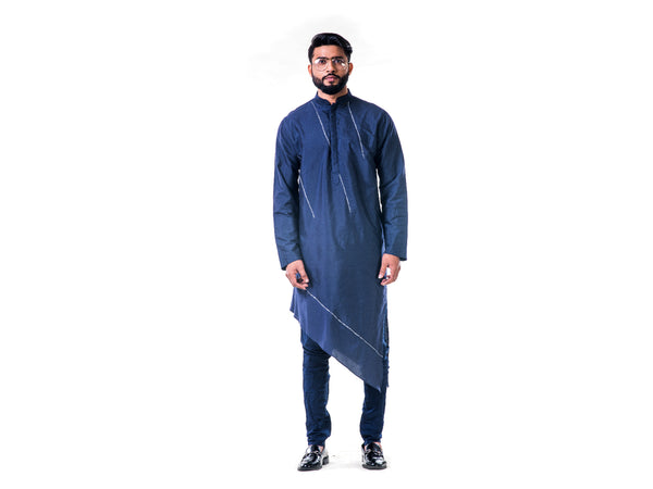 Midnight Blue Asymmetrical Hemline Embroidered kurta Set