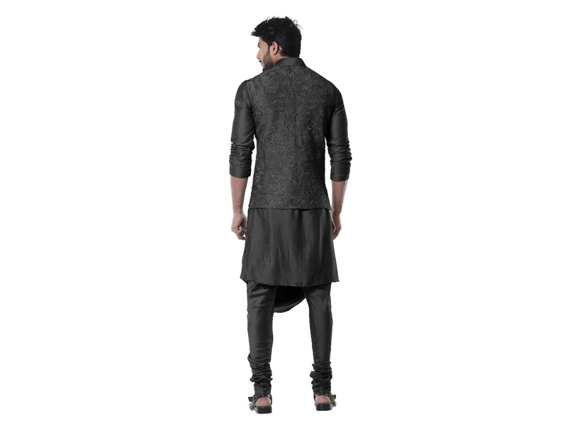 Jade black Cowl Kurta with Full Embroidered Black Waist Coat set
