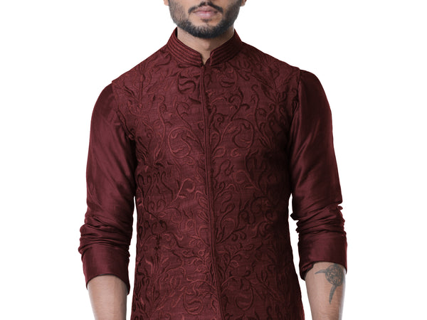 Wine Cowl Kurta with Full Embroidered Wine Waist Coat set.