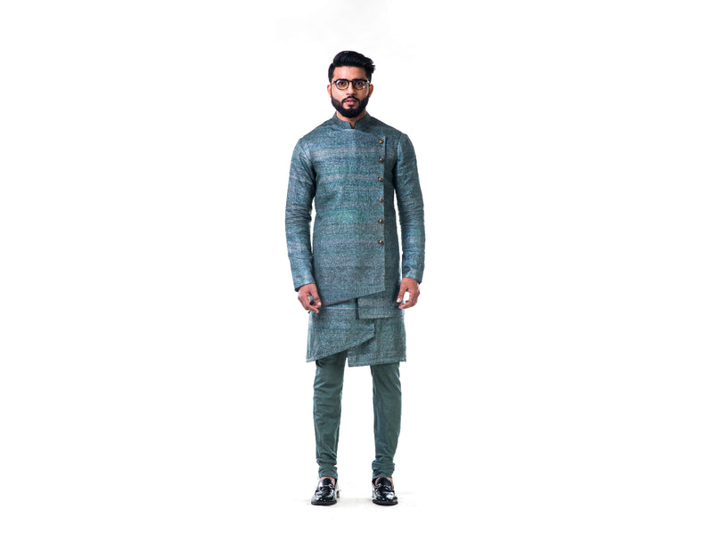 Green Overlapped Ghicha Kurta & Jacket Set