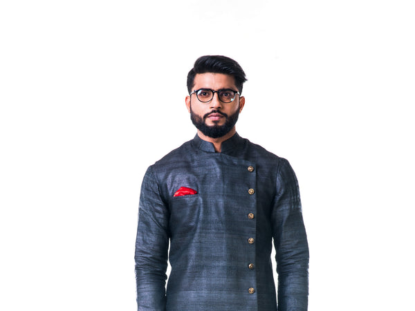 Charcoal Black Overlapped Ghicha Kurta & Jacket Set