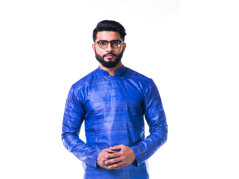 Ink Blue Overlapped Ghicha Kurta & Jacket Set