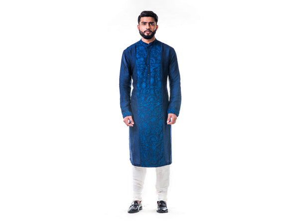 Blue Ari Embroidery Silk Kurta Set
