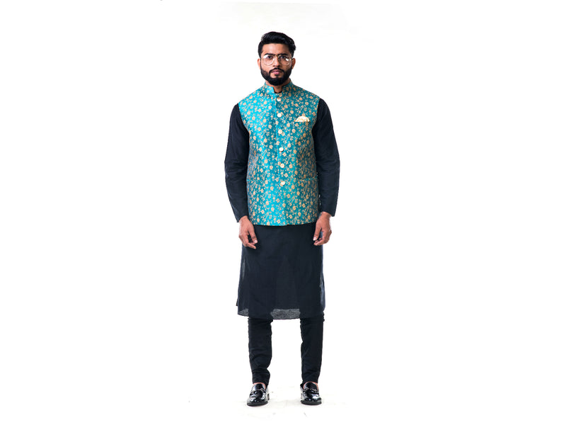 Black Cotton Silk Kurta With A Sea Green Floral Brocade Nehru Jacket