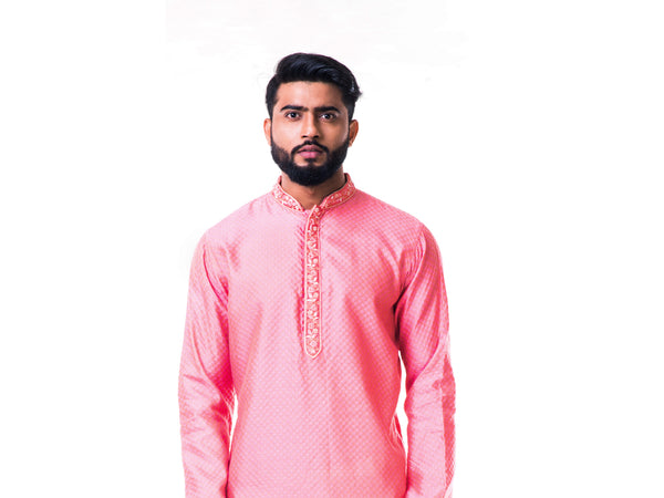 Pastel Pink Thread Embroidery Kurta Set