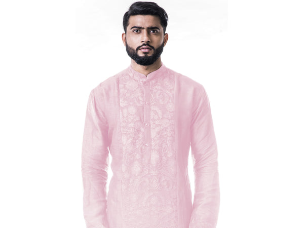 Pink Ari Embroidery Silk Kurta Set.