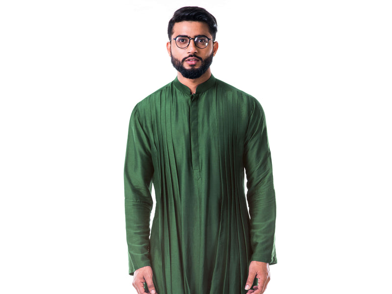 Green Double Cowl Kurta Set