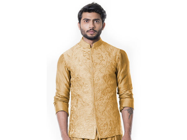 Mustard Cowl Kurta with Full Embroidered Mustard Waist Coat set.