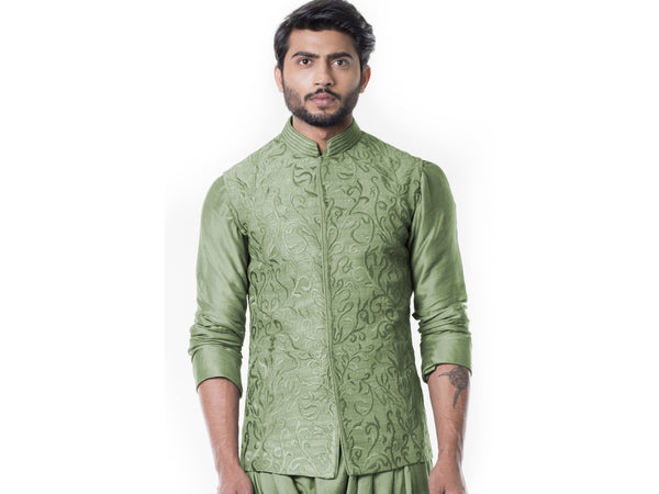 Pistachio Green Cowl Kurta with Full Embroidered Pistachio Green Waist Coat set