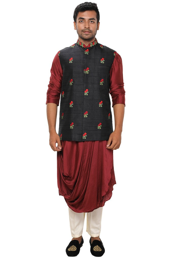 Black Embroidered Nehru - Kurta Set