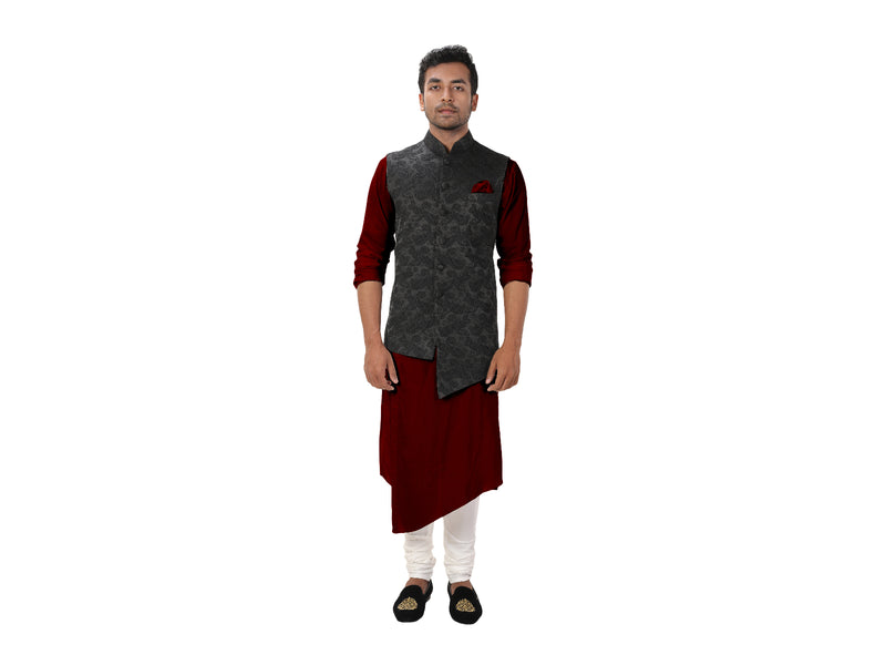 Front Slit Kurta Set with a Classic Black Paisley Embroidered Asymmetrical Jacket