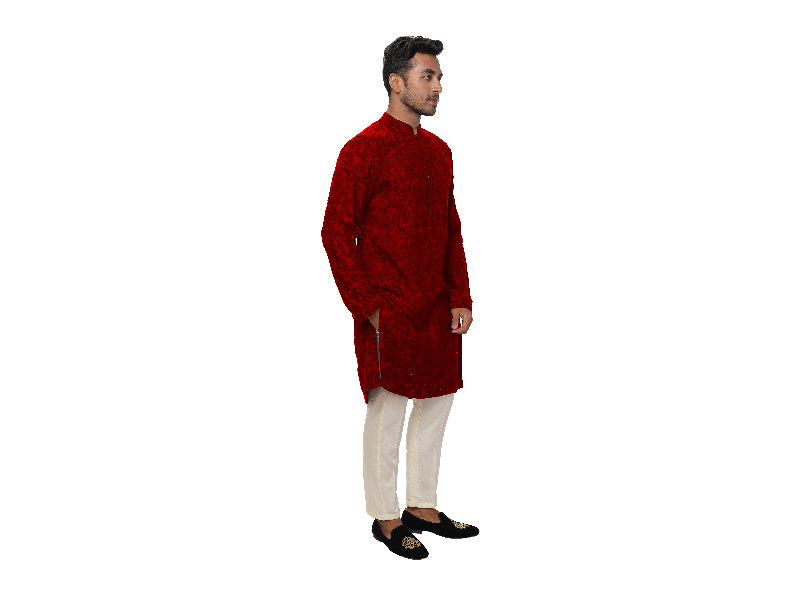 Red, All Over Ari Embroidered Kurta Set
