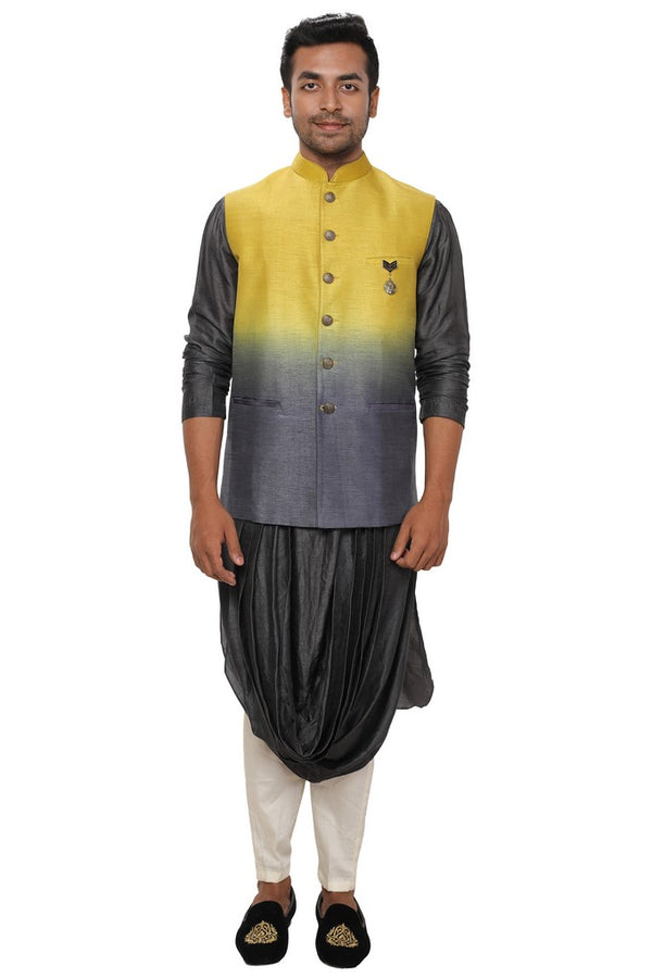Grey Double Cowl Kurta & Churidar Set paired with a Ombre Shaded Jacket