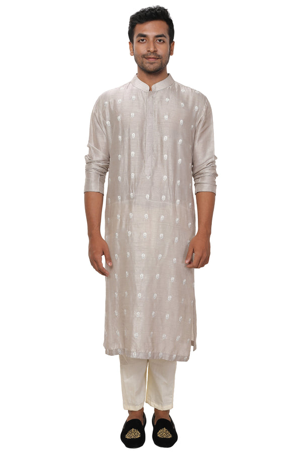 Steel Grey Threadwork Embroidered Kurta Churidar Set