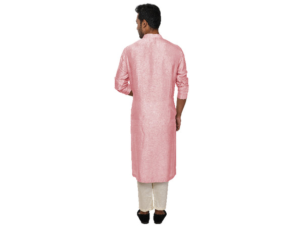 Pastel Pink Threadwork Embroidered Kurta Churidar Set