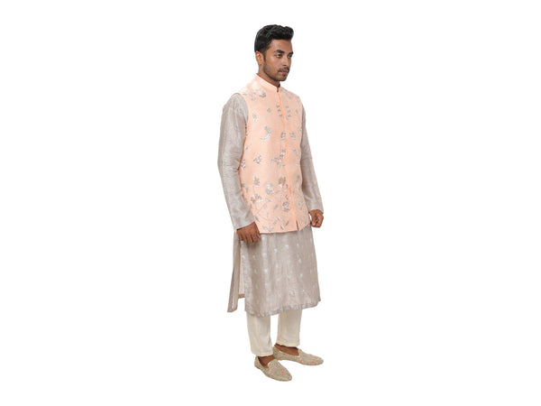 Light Grey Embroidered Kurta with a Peach Zari & Threadwork Embroidered Jacket