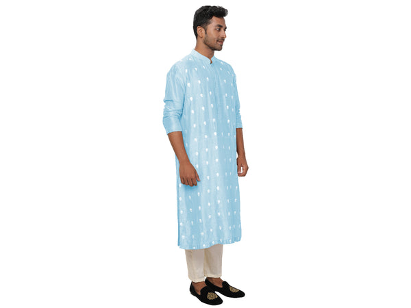 Baby Blue Threadwork Embroidered Kurta Churidar Set