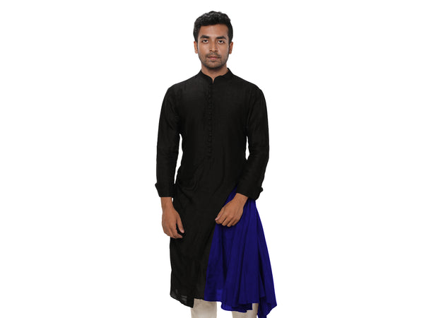 Sufi Style Layered Evening Kurta Set in Black & Blue