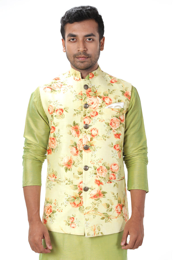 Green Kurta Set paired with a Summery Floral Printed Jacket