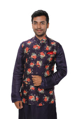 Purple Side Buttoned Kurta Set with a Floral Digital Print Jacket