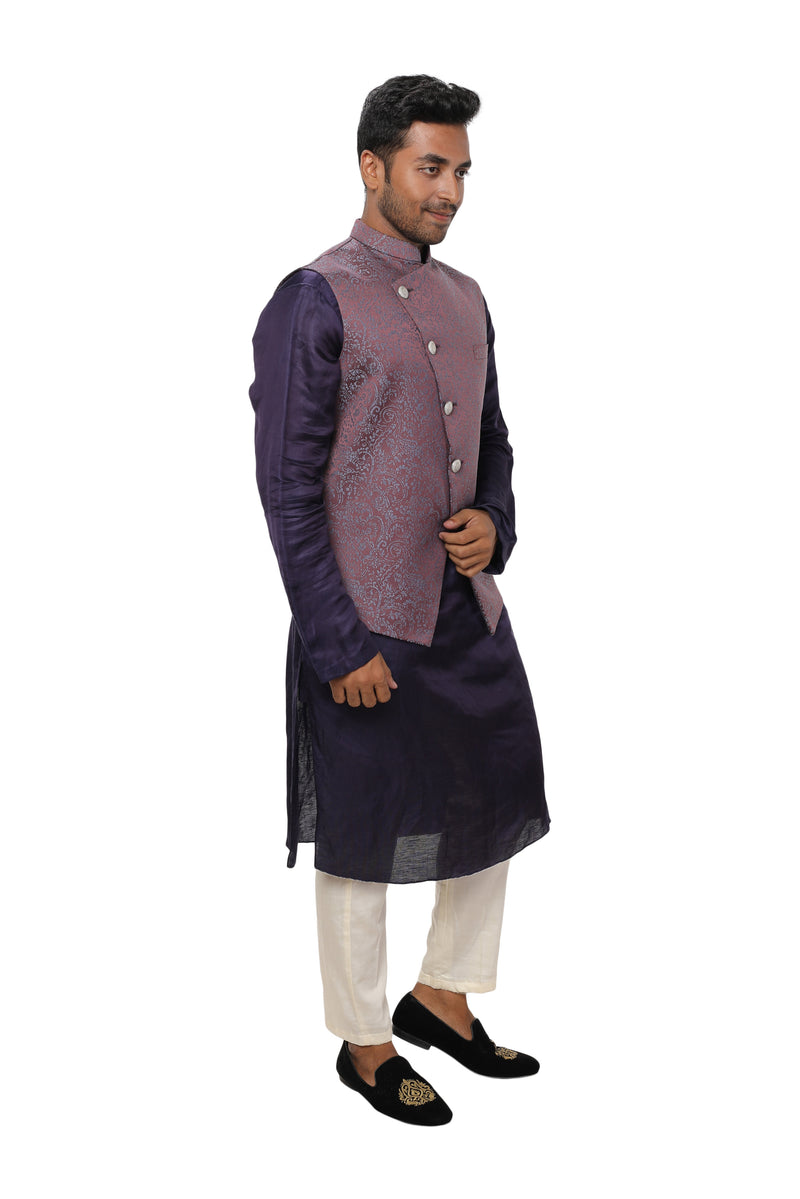 Purple Kurta with Side Button Panel paired with a Overlap Textured Nehru Jacket