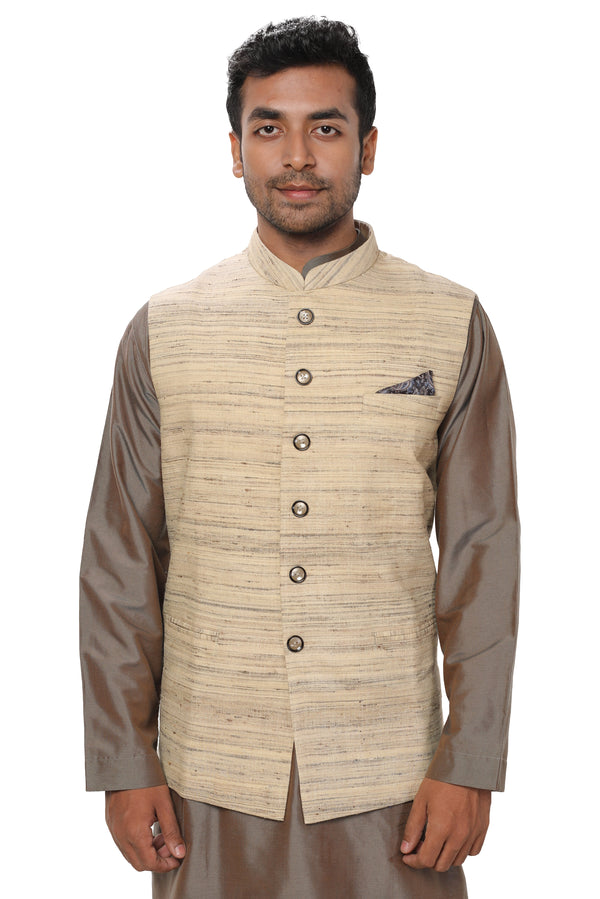 Traditional Kurta & Dhoti Set paired with a Beige Jute Textured Jacket
