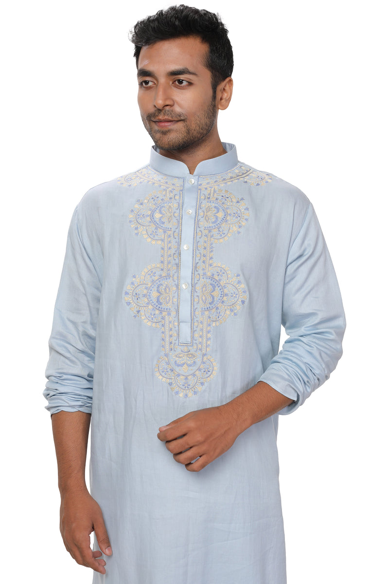 Blue, Zari Embroidered Kurta Set