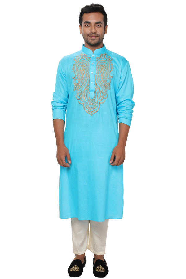 Zari Embroidered Silk Kurta Set