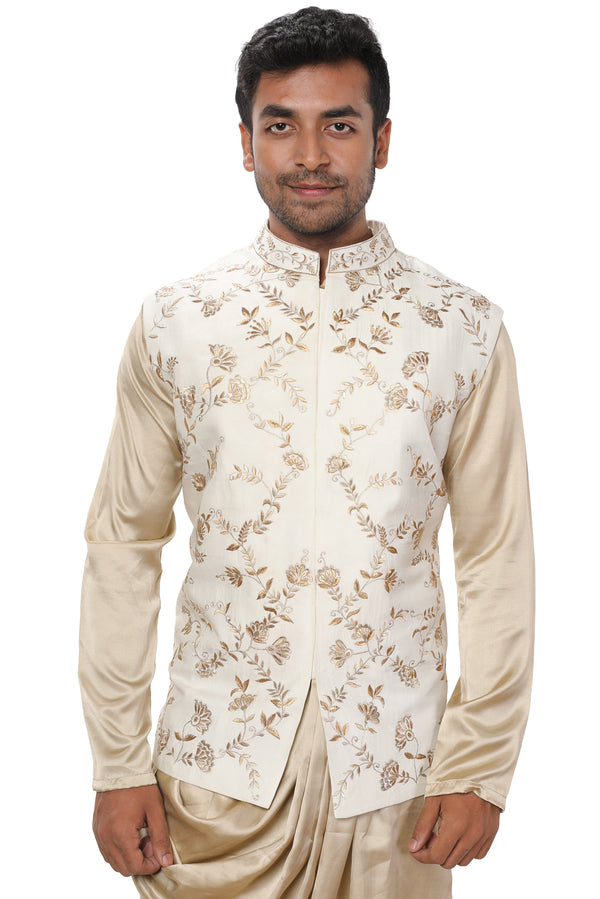 Royal Gold Cowl Draped Kurta Set paired with a White & Gold Embroidered Jacket