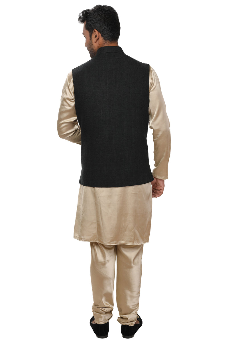 Gold Cowl Kurta Set paired with a Gold Embroidered Jacket