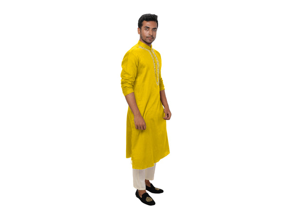 Yellow Kurta Set with White Threadwork Embroidery