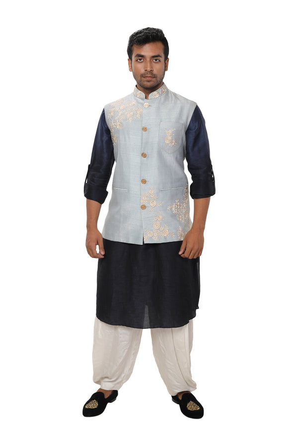 Sky Blue Floral Embroideried Nehru Jacket with a Navy Kurta & Salwar Set