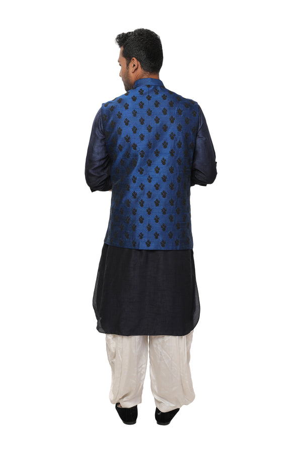 Navy Kurta Salwar Set paired with Royal Blue Hand Embroidered Nehru Jacket
