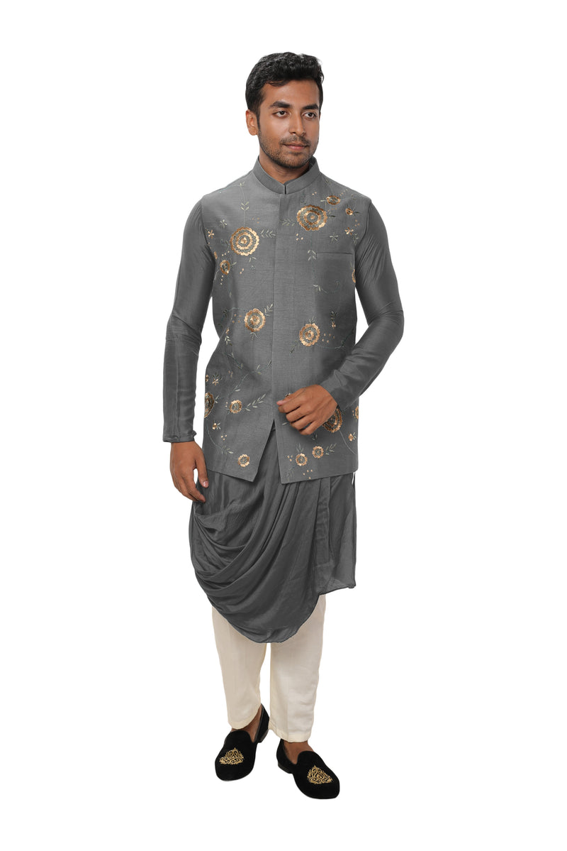 Silk Cowl Drape Kurta Set with a Royal Gold, Threadwork Embroidered Nehru Jacket