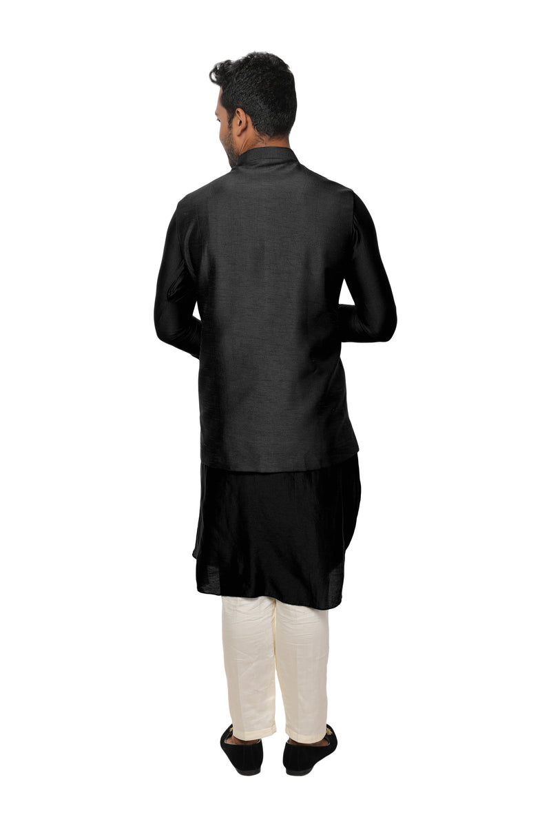 Black Cowl Drape Kurta Set with a Royal Gold, Threadwork Embroidered Nehru Jacket
