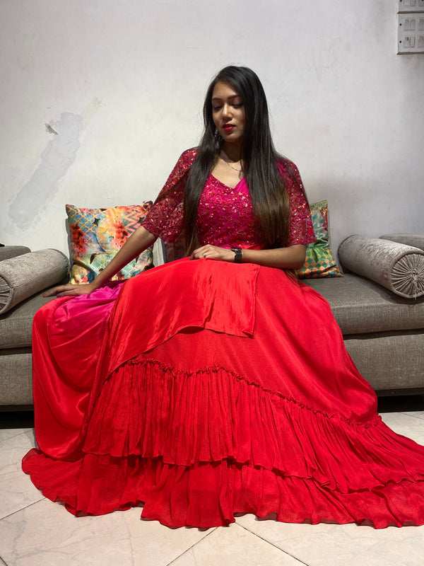 Rani Red Shaded Draped Lehenga with an Embroidered Blouse