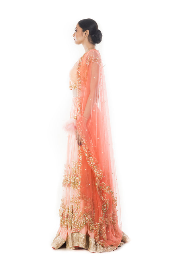 Peach Chiffon Double Layer Lehenga