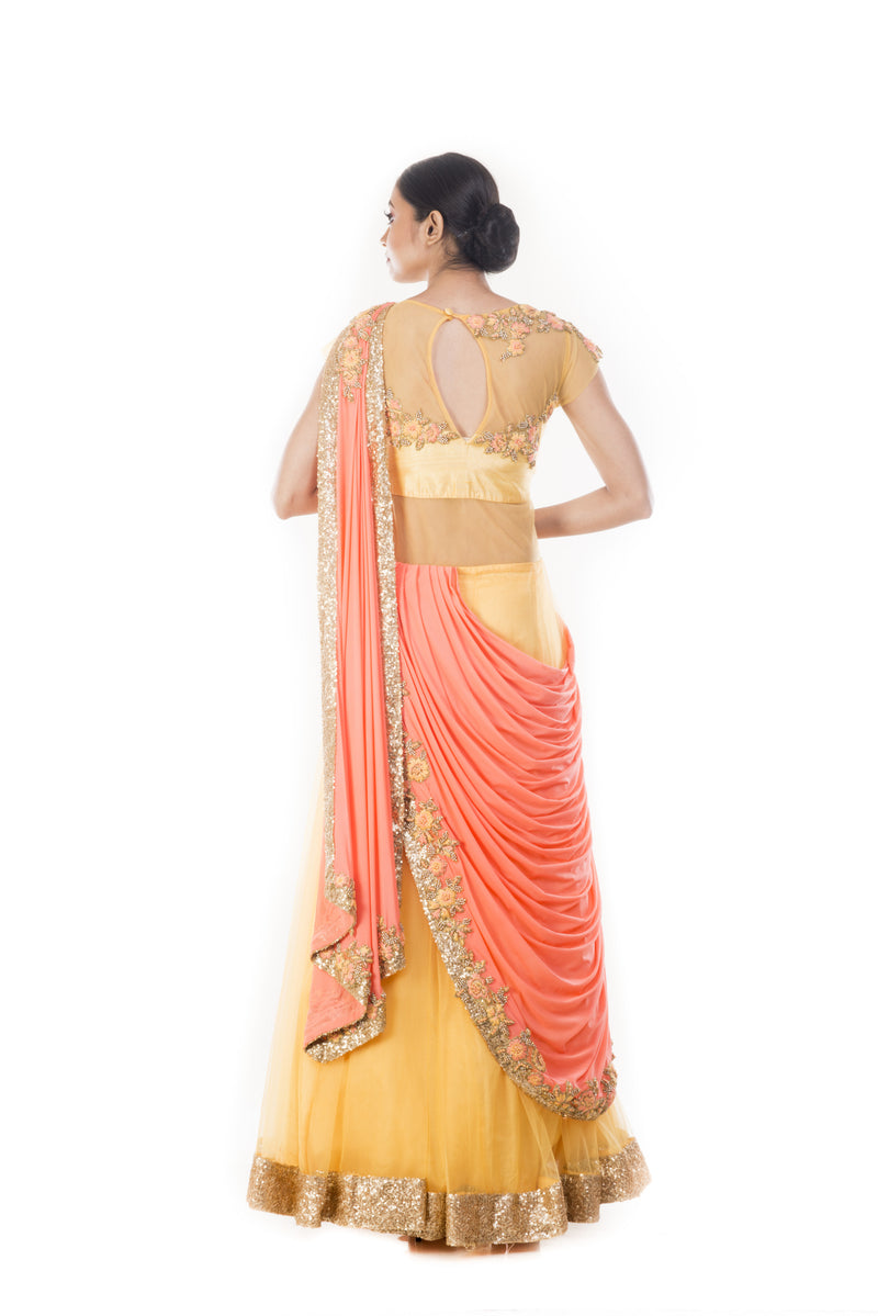 Mustard Yellow Gown With Peach Ombre Palla