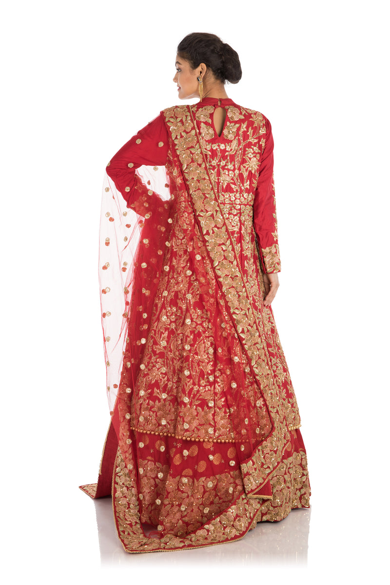 Heavy Hand Embroidered Bridal Jacket Lehenga Set