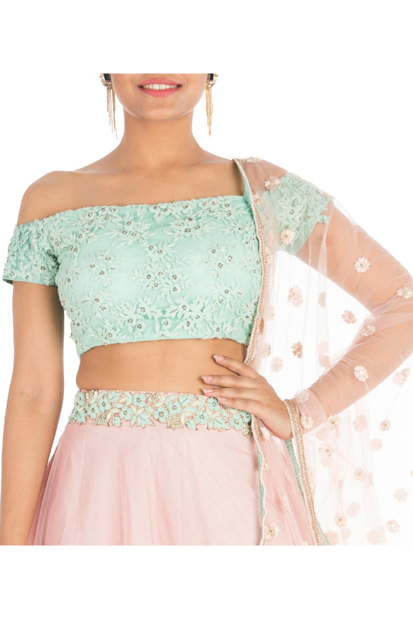 Hand Embroidered Blush Pink & Aqua Off Shoulder Lehega Set