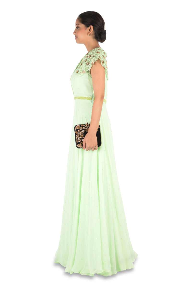 Hand Embroidered Mint Green Gown