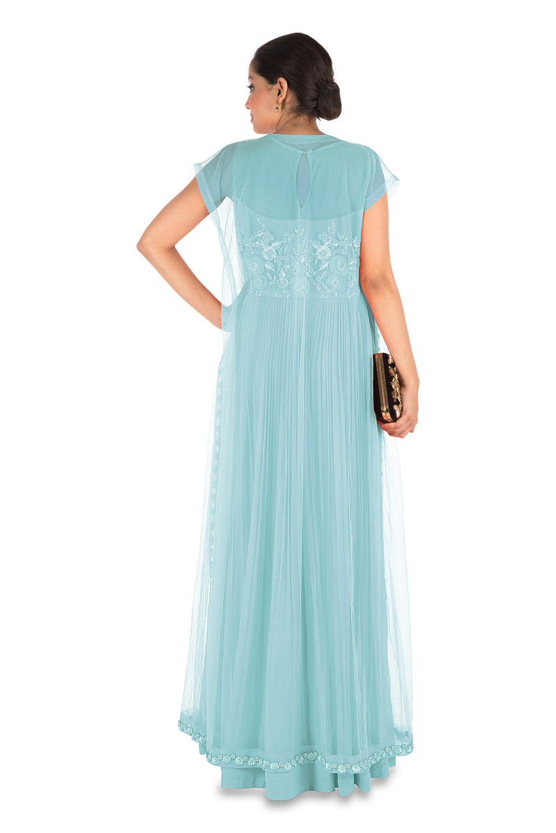 Hand Embroidered Powder Blue Mirco Pleated Flare Gown With Jacket