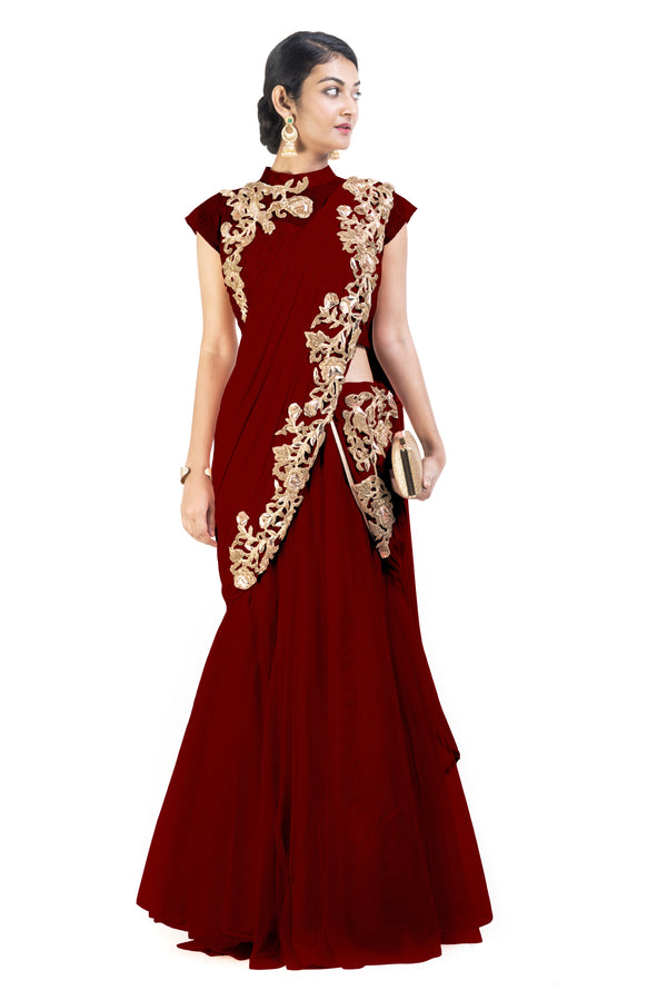 Maroon Lehenga Set  with Cinderella Lace
