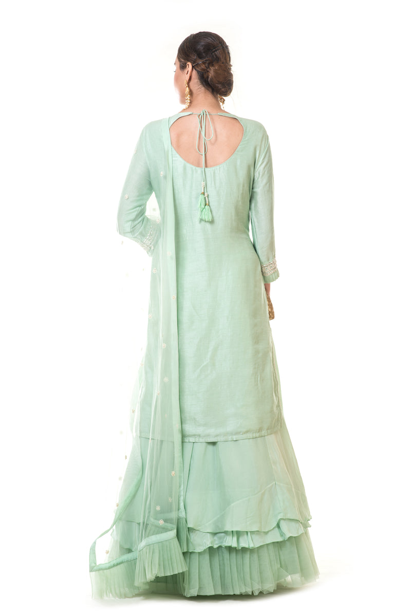 Sea Green Embroidered Long Kurta with a Layered Lehenga & Frill Dupatta