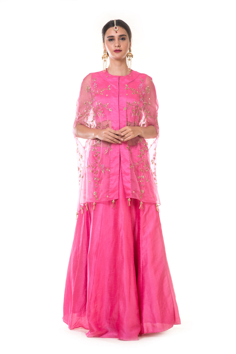 Fuschia Pink Blouse & Lehenga Set with an Hand Embroidered Cape