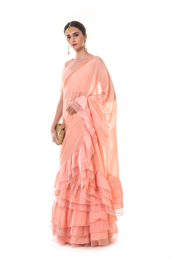 Peach Embroidered Frill Lehenga Saree