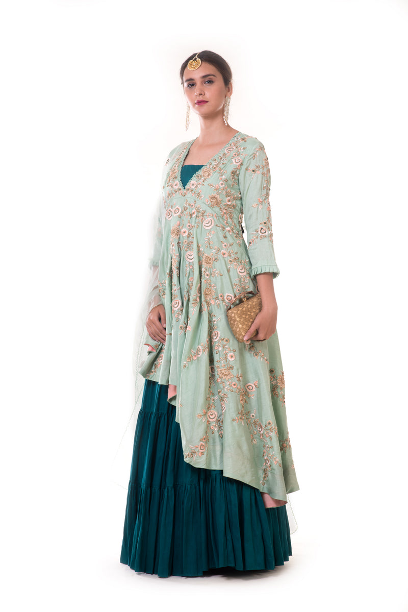 Hand Embroidered Sea Green Asymmetrical Top with Bottle Green Bustier & Layered Lehenga with Dupatta