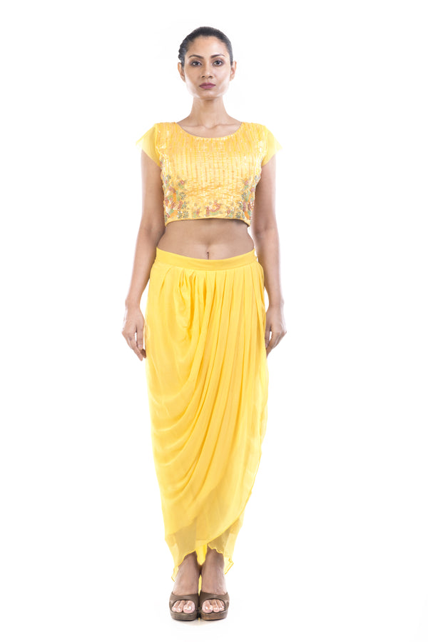 Yellow crop top with dhoti pants