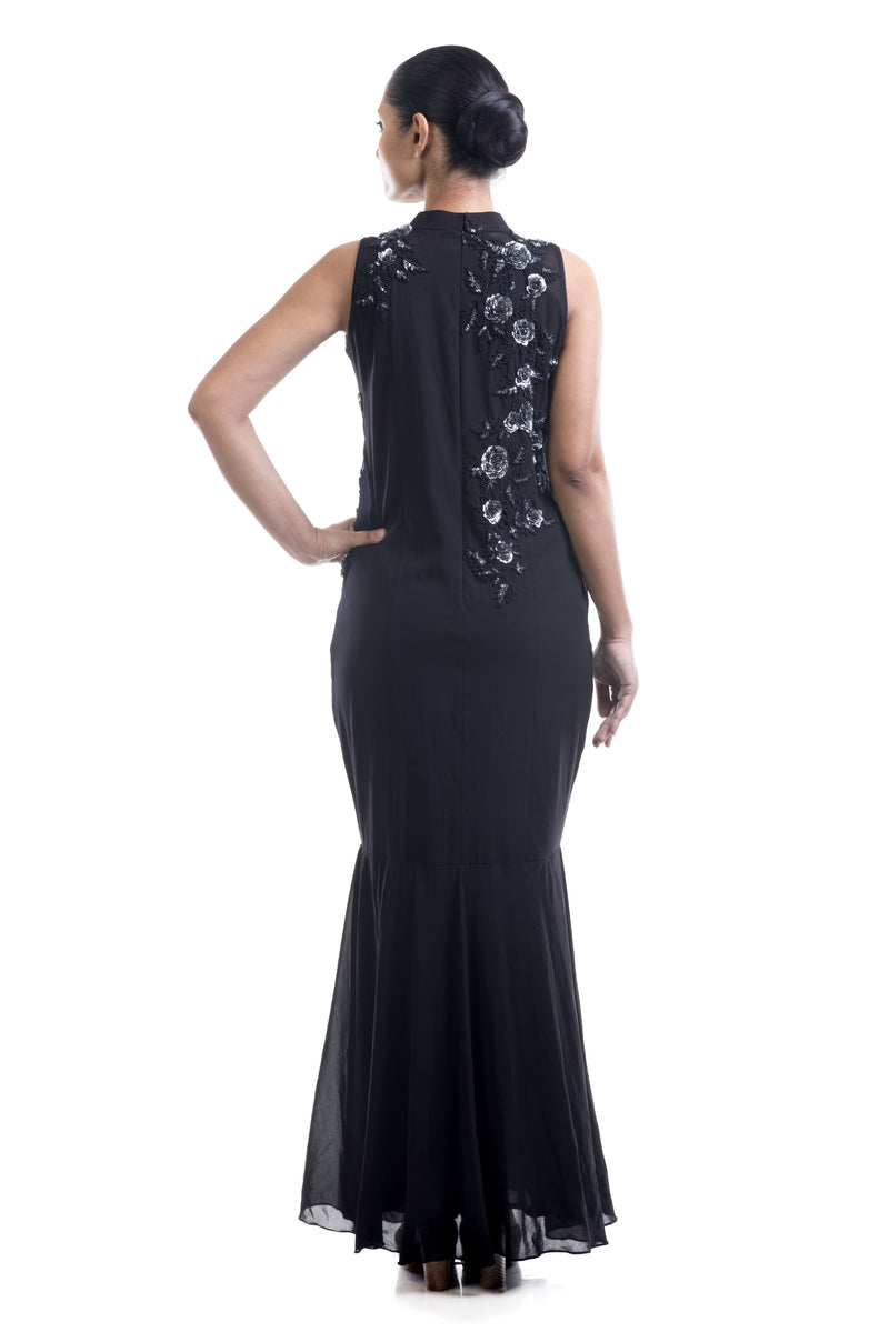 Floral Black Cocktail Gown