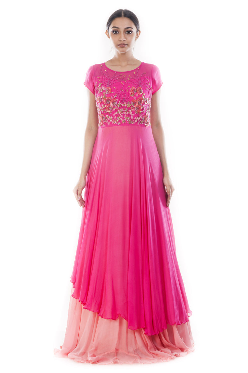 Fuschia Pink Double Layer Gown